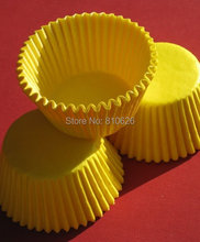 Promotion 100pcs yellow plain solid color cupcake liner muffin paper baking Cup cake liner wrapper mold case cake decoration