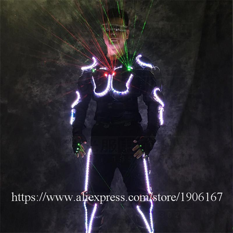 Ballroom dance led costumes luminous robot suit men led glasses green laser cloth dancer dj stage show wears laser gloves03