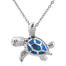 Blue Fire Opal Turtle Charm Pendant Copper Tortoise Necklace for Women Jewelry Stainless Steel Chain Necklace