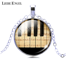 LIEBE ENGEL 2017 Piano Keyboard Picture Pendant Necklace Vintage Silver Color Necklace Summer Style Glass Cabochon Fine Jewelry
