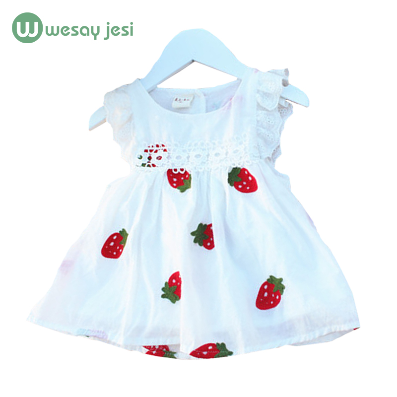 Baby Girls clothes cotton white Floral strawberry Pattern A-Line Princess girls dresses summer 2016 cute toddler girl dresses<br><br>Aliexpress
