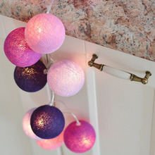 20pcs/set Purple Cotton Balls Lights String Led Garden Fairy Lights Christmas Outdoor Lighting Party Wedding Decorations CT12