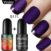 Yinikiz 2pcs Matts Top Coat Nails Design Set + Classic Gel Nail Polish Surface No Light Soak-Off Matt Top UV LED Gel(China)