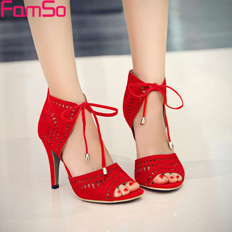 Plus Size34-43 2017  New Europe Style Cut-outs Black Red Wedding Shoes Designer Sexy Summer Ladies Gladiator sandals PS2750<br><br>Aliexpress
