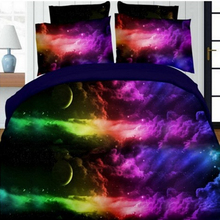 2017 Chic 3D Bedding Sets Universe Outer Space Blue Galaxy New 4/3pcs Quilt Duvet Cover Bed Sheet Sell Pillowcase Twin Queen