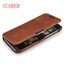 ICARER Retro Vintage TOP Genuine Leather Case for HTC One M8 Flip Cell Phone Wallet Case Magnet Cover for HTC M8 Brown Red Color