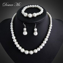Dower Me Wedding Jewelry Sets for Brides Simulated Pearl Jewellery Trendy 3 Pieces/Set Bracelet Earrings Necklace Set Bijoux