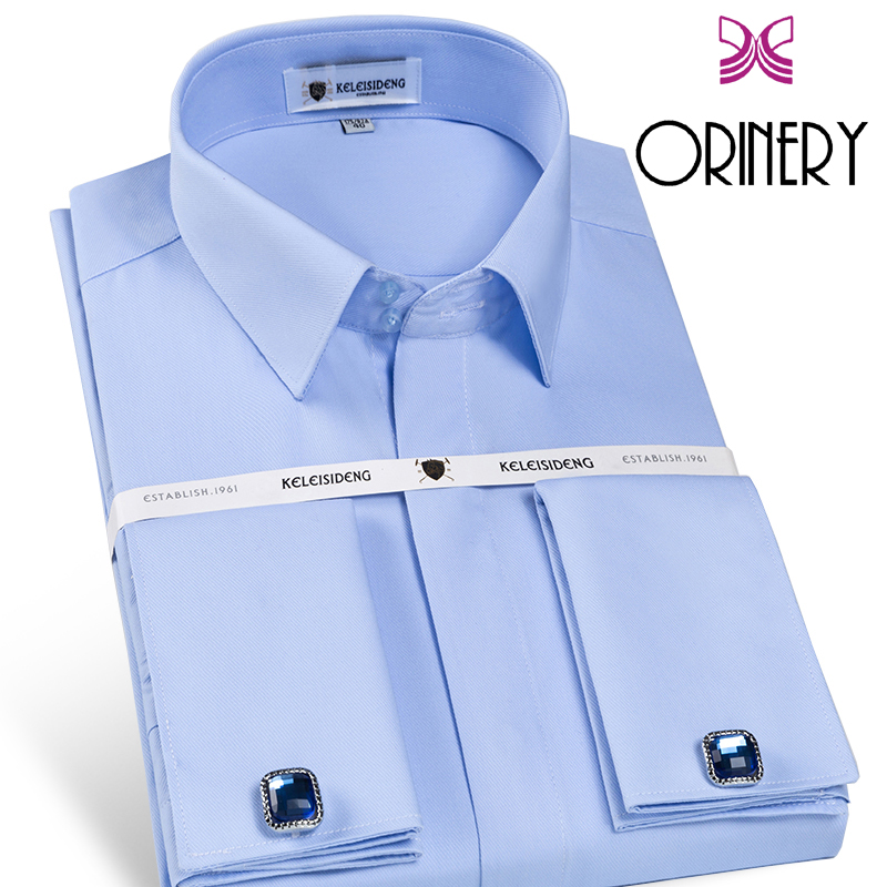 ORINERY 2018 New Arrival French Cuff Mens Shirt With Cufflinks Fashion Brand Long Sleeve Camisa Masculina Dress Shirt Size S-4XL