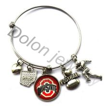 Ohio State Buckeyes Football Charms Adjustable Wire Bangle Bracelet