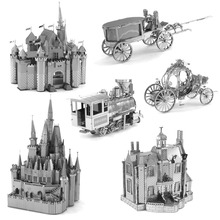 Mini 3D Pumpkin Carriage Metal Puzzle World Famous Architecture Sleeping Beauty Castle DIY Model Adult Puzzle Education Toys
