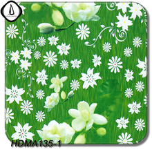 Hydro Dipping DIY Sticker No.HDMA1351 1M Width 10M Length Green White Flower Pattern Liquid Image Water Transfer Printing Film(China)