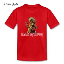 Boy Girl O Neck Iron Maiden Rock Music T Shirt Baby Kids Printing t-shirt Short Sleeve Children Cotton Tee Tops 2017 New