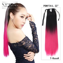 "Neitsi Synthetic Rose Ombre Pony Tail Hair Extensions 22"" Straight Clip In On Ponytails Hair Piece New Fashion Women Girl's Hair"