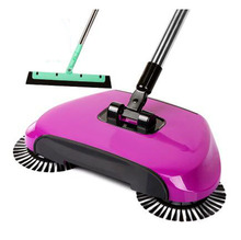 Broom Cleaner Robot Household Cleaning Hand Push Sweeper Broom machine Floor Cleaner Dustpan Combination+EVA Sweeper-Purple