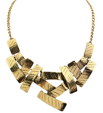 NEC082 Women Metal Geometrical Irregular Squares Pendant Chain Bid Choker Necklace Gold Silver Color(China)