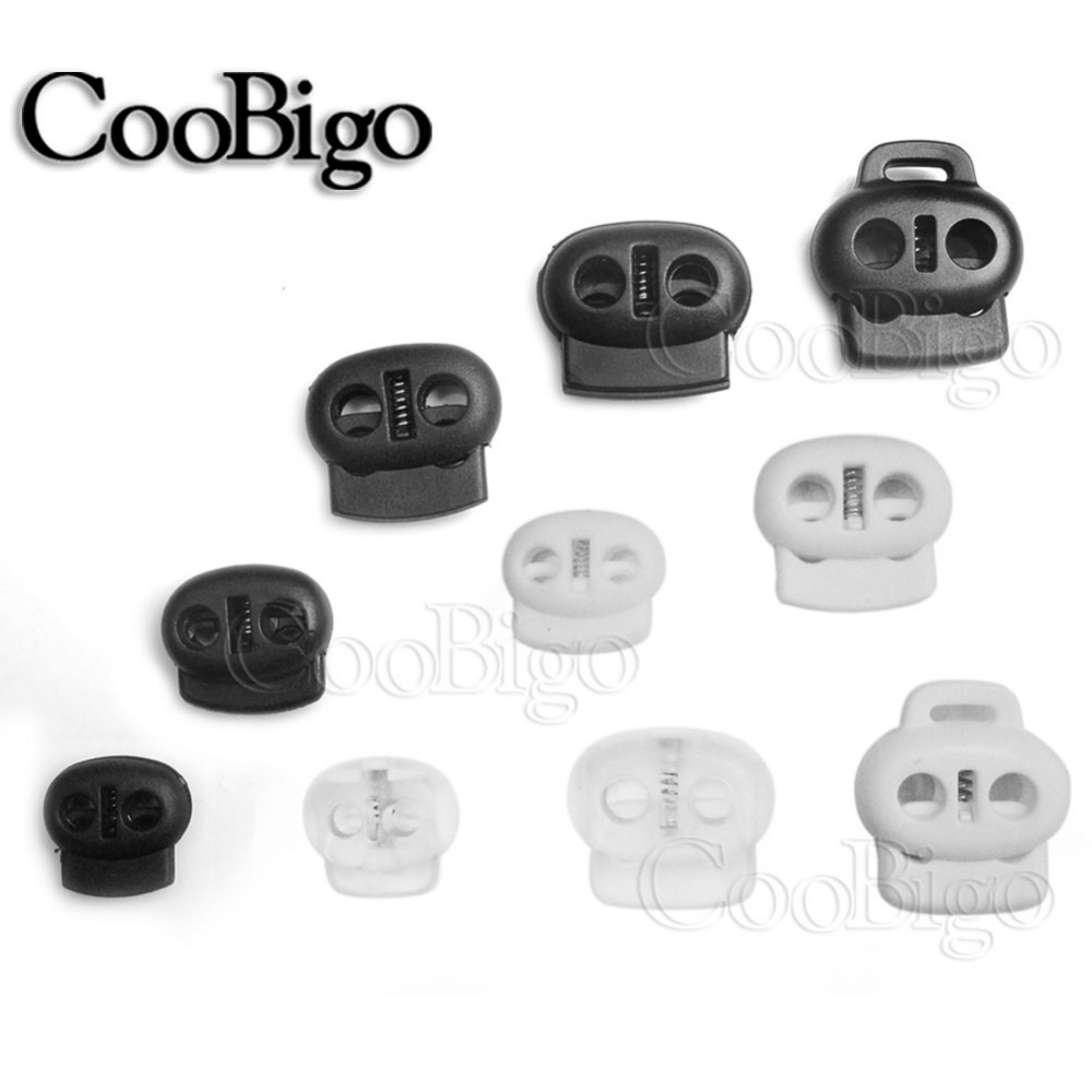 100X Cord Lock 4mm Hole Clip Symmetrical Stopper Slider Drawstring Rope Clamp