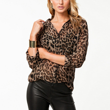 Spring Autumn Fashion Women Ladies Chiffon Blouse Leopard Printed Long Sleeve Single Breasted Loose Tops Shirts