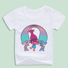 Ready Stock,Boy and Girl Trolls Poppy Magic Cartoon Good Quality T-shirts Children Tops Tee(China)