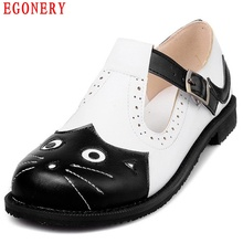 EGONERY Spring Air White Black Round Toe Casual Flats Women Buckle Strap Cut-out Student Cute Cat Shoes Plus Size