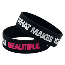 Promo Gift 1PC 3/4'' Wide Band Youth Size One Direction What Makes You Beautiful Silicone Wristband(China)