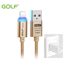 GOLF 2.1A Output Charger For iPhone 7 8 6S Plus 5S 5C 5 iPad 4 Air 1 2 Mini iPod Touch 5 nano 7 & LED Lighting Cable Cord Wire(China)