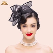 Autumn New Banquet Hat Female Fedoras Cap English Style Wedding Cap Women Casual All - Match Church Hat Party Wear B-7519(China)