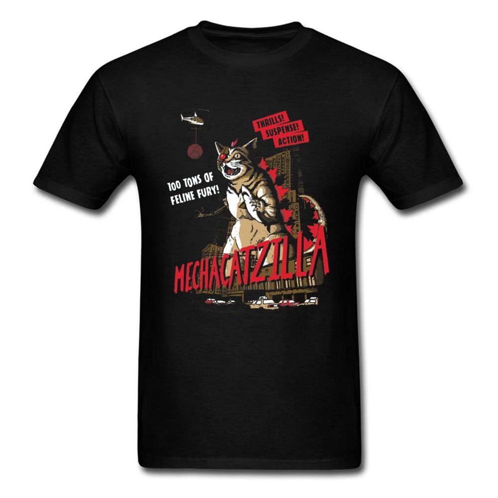 Normal Mecha Catzilla V2 23216 Short Sleeve Lovers Day Tops & Tees Newest Crewneck Cotton Fabric Tops Shirt Men Tshirts Mecha Catzilla V2 23216 black
