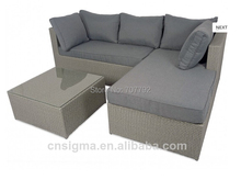 2017 Calabria Grey Outdoor Rattan Furniture Contemporary Sofa Sets With Glass