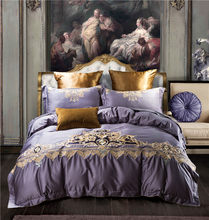 2018 Luxury Bedding Set Queen King Size 4pcs Bed Linen Soft Bed Cover European Bedclothes Purple Embroidery Duvet Cover Sets(China)