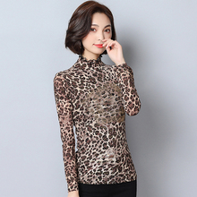 2017 Autumn Women Elegant Diamonds Lace Blouse Femme Leopard Printed Shirts Tops Long Sleeve Turtleneck Blusas Feminina Blouses(China)