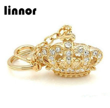 Linnor Luxury Crystal Crown Keychain Gold Metal Rhinestone Keyring for Women Party Gift Bag/Cell Phone Pendant Key Chain Ring