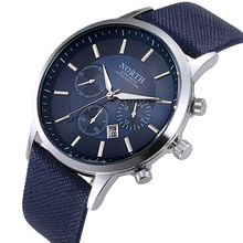 North Luxury Men Watches 2017 Waterproof Genuine Leather Fashion Casual Wristwatch Man Business Sport Clock Classic Blue 6009