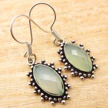 "Silver Plated Hot Selling AQUA CHALCEDONY Earrings 1.5"" GIFT FOR LOVED ONES"