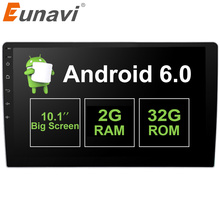 "Eunavi 2GB+32GB 10.1"" 2 Din Android 6.0 Car Radio Stereo GPS Navigation System Head Unit Universal with steering wheel control"