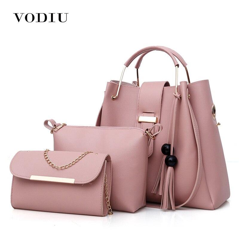 Women Bag Female Handbags Bucket 3 Set Bags Leather Over Shoulder Bag Crossbody Tassel Fashion Chain Ladies Big Tote Handbag<br>