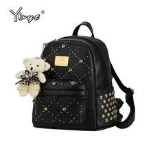 YBYT brand 2017 new leisure diamonds rivet rucksack high quality women shopping package ladies preppy style backpack bear bags