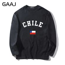 T Shirt Men Chile Flag Brand Casual Man & Women Unisex Long Sleeve Print Letter South America O-neck Mens Tee Man Funny Tshirt C
