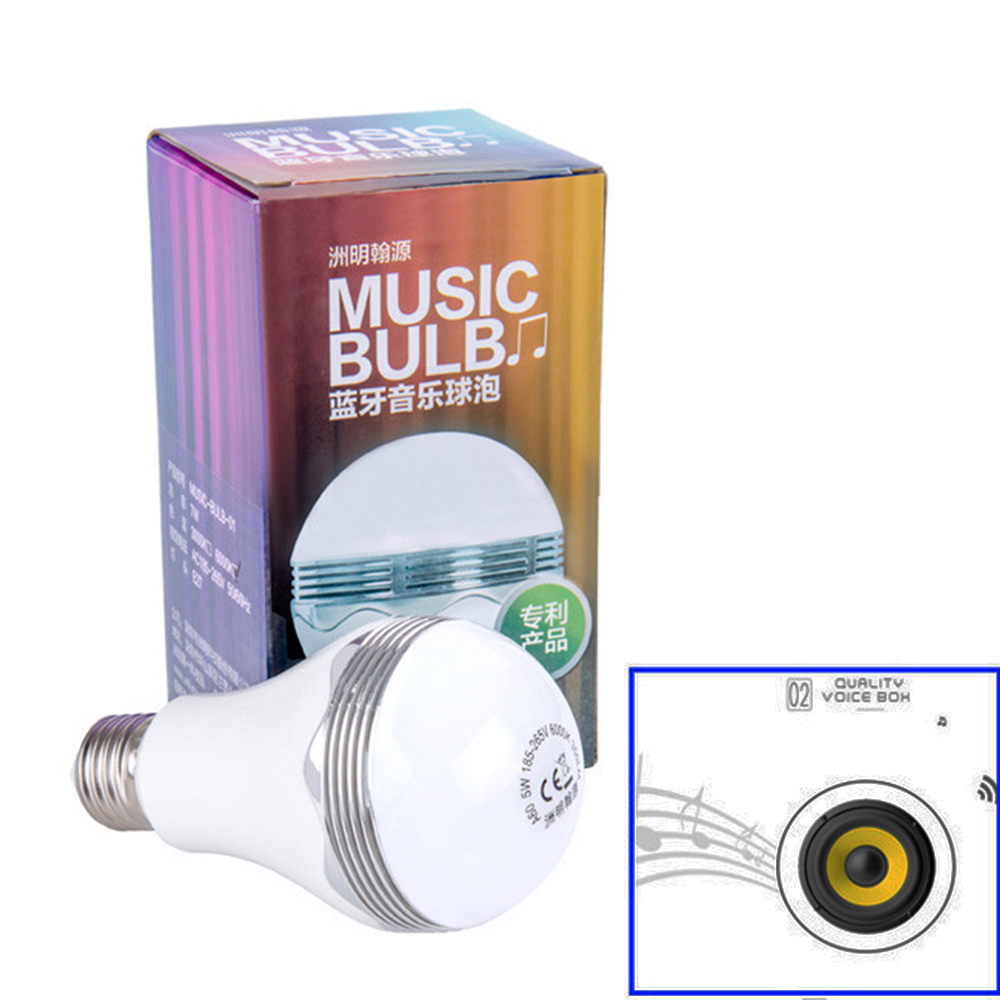 Led Bulb music Lamps bluetooth wireless speaker disco noverty led lighting 5W E27 base AC220V use music player bulbs new UR<br><br>Aliexpress