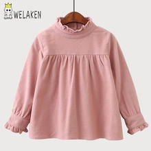 welaken 2017 New Fashion Girls Ruffles T shirt Cotton Solid Color Long Sleeves Baby T-shirts Children Clothes Kids Tops(China)