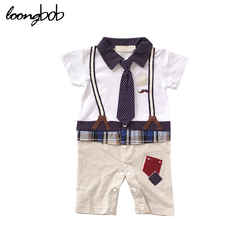 2017 New toddler romper baby boy short sleeve college waistcoat overall jumpsuit bebes boys one piece newborn clothes 159F<br><br>Aliexpress