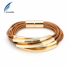 Transna Multilayer Gold Color Bucket Brown Wax Line Bracelet Office/career Bracelets For Women Bileklik Pulseira Feminina(China)