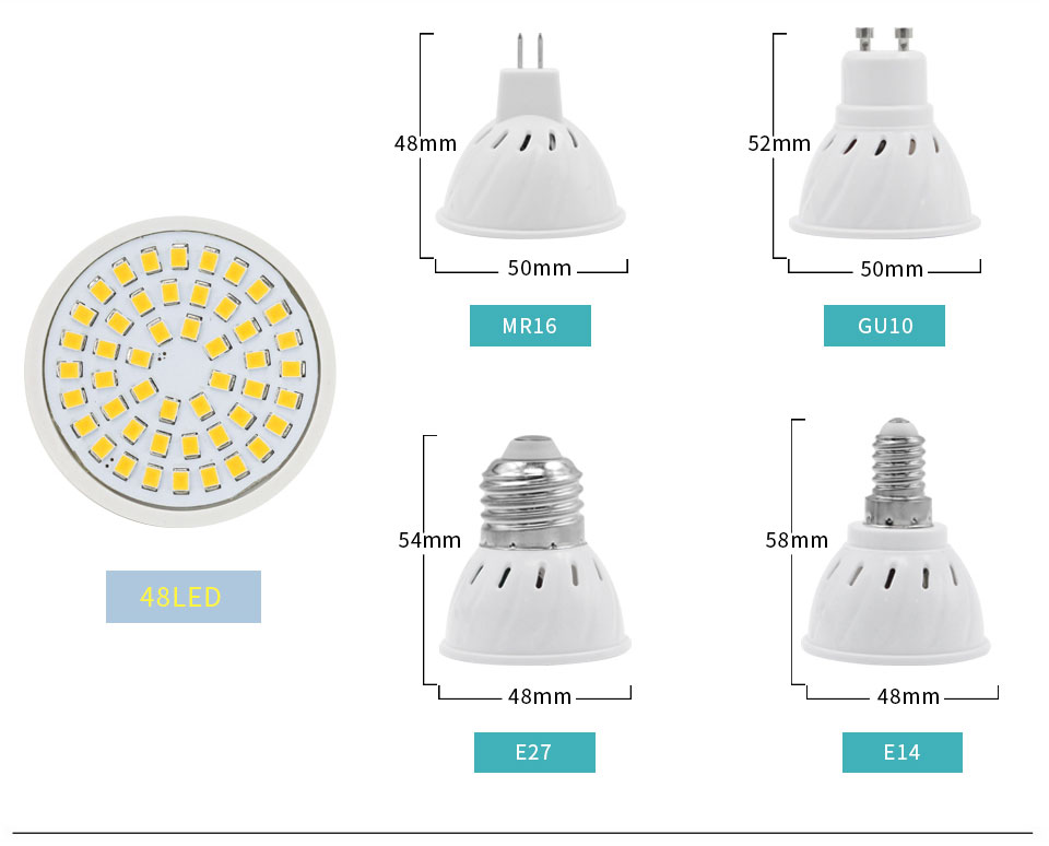 YNL LED Lamp GU10 MR16 E27 E14 Led Lampada Spot light 220V High Bright Bombillas LED Bulb SMD2835 48/60/80 LEDs For Spotlight