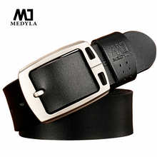 MEDYLA fashion design cow genuine leather 2016 new men belts good quality male belt for men newest pin buckle free shipping(China)