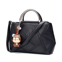 Luxury Black Pu Leather Handbag Women Bag Designer Handbags High Quality Cute Monkey Women Famous Brand Tote Crossbody Hand Bag