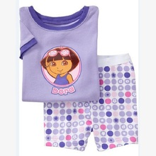 Children's Nightwear Sleepwear For 2-7 yr Purple Dora Baby Girls Pajamas Clothes Suit Summer Fashion Kids Vestidos Cartoon