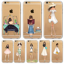2016 Fashion Shopping Girl Phone Case For Apple iPhone 6 6s Transparent Soft Silicon Mobile Phone Bag(China)