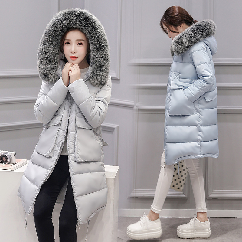 The 2017 Winter Fox Fur Imitation Hooded Slim Long Coat New Large Fur Collar Female Cotton Thickened Down Winter Jacket WomenОдежда и ак�е��уары<br><br><br>Aliexpress