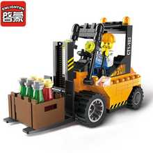 ENLIGHTEN 115Pcs Playmobil Road Roller Forklift Truck Tractor Sweeper Truck Building Blocks Kids Toys for children
