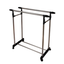 Living Room Furniture Double Folding Metal Coat Rack Clothes Rail Hanging Garment Dress On Wheels Mesh Shoe Rack De Roupas(Hong Kong)