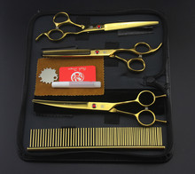 Professional Pet Scissors Set 7 in. Straight Curved Thinning Scissors Kits+Comb Case Dog Grooming Shears 3PCS Hair Cutting Tool